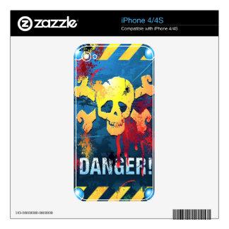 Piel del iPhone 4 del cráneo del peligro Calcomanías Para iPhone 4S