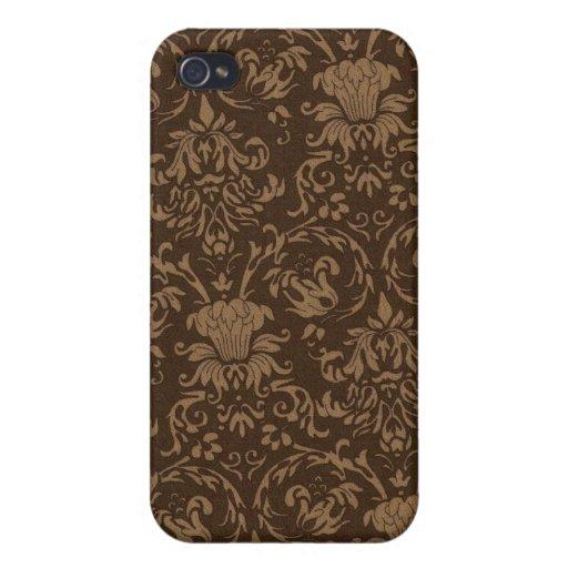 Piel del iPhone 4 del damasco de Brown del vintage iPhone 4/4S Fundas