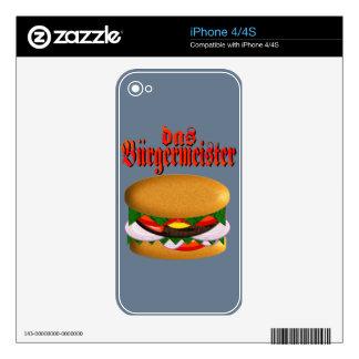 piel del iPhone 4 del das Burgermeister Calcomanías Para El iPhone 4
