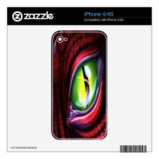 Piel del iPhone 4 del ojo del dragón Calcomanía Para El iPhone 4S