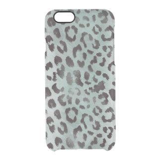 piel del leopardo en azul del jade funda clear para iPhone 6/6S