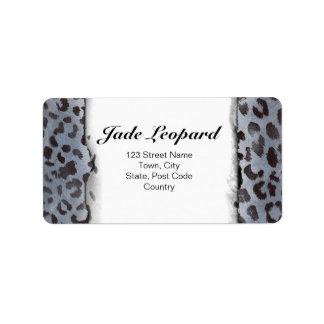 Piel del leopardo en pizarra azul etiquetas de dirección