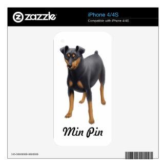 Piel del Pin Zazzle del minuto del Pinscher Calcomanía Para iPhone 4