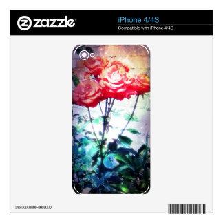 Piel del teléfono de los rosas de la llama skin para el iPhone 4S
