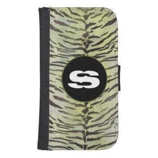 Piel del tigre en chartreuse billetera para teléfono