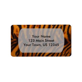 Piel del tigre o plantilla rayada negra de la etiquetas de dirección