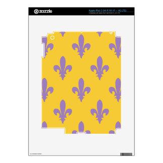 Piel electrónica de la flor de lis de la púrpura y iPad 3 skins