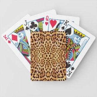 Piel elegante del estampado leopardo baraja de cartas bicycle