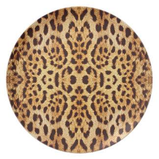 Piel elegante del estampado leopardo plato de cena