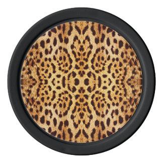 Piel elegante del leopardo fichas de póquer