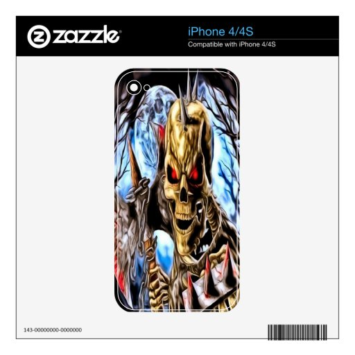 Piel esquelética del iPhone 4 del guerrero Skin Para El iPhone 4