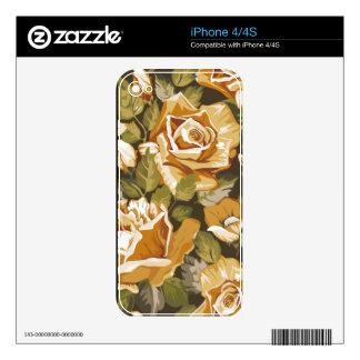 piel floral del iPhone 4/4S del vintage elegante Calcomanías Para iPhone 4