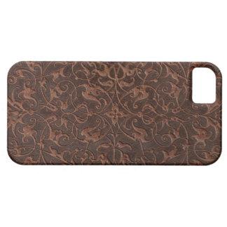 Piel floral, marrón de la élite para el iPhone 5 Funda Para iPhone SE/5/5s