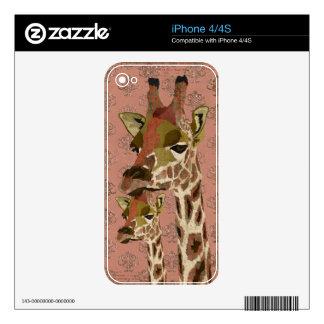 Piel glamorosa de las jirafas de Rosa Calcomanías Para iPhone 4S