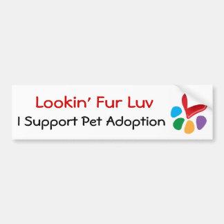 Piel Luv de Adoption_Heart-Paw_Lookin del mascota Etiqueta De Parachoque