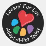 Piel Luv de Adoption_Heart-Paw_Lookin del mascota Etiquetas Redondas