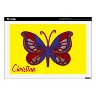 Piel Mariposa-Amarilla azul blanca roja el 17in Skins Para 43,2cm Portátiles