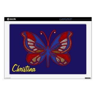 Piel Mariposa-Azul azul blanca roja el 17in del Portátil Skins