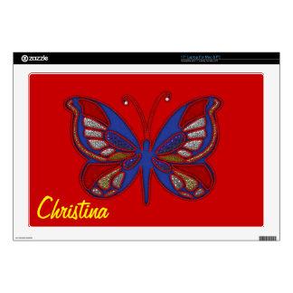 Piel Mariposa-Roja azul blanca roja el 17in del Calcomanías Para Portátiles