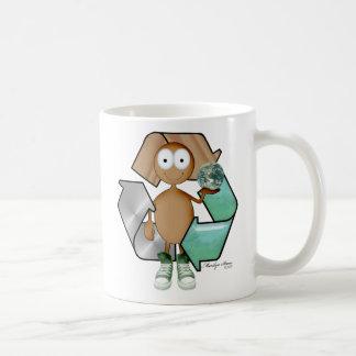 Piel marrón del reciclador taza básica blanca