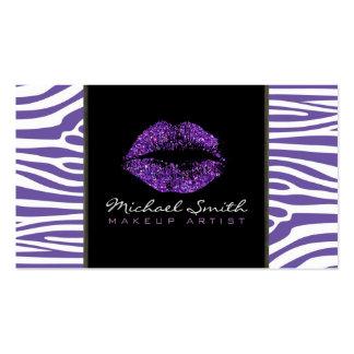 Piel moderna púrpura de la cebra del artista de tarjetas de visita