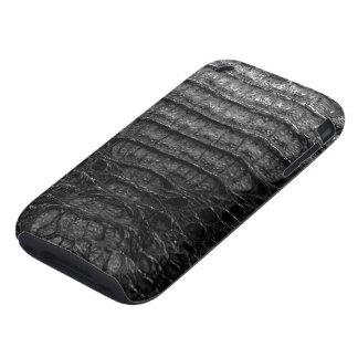 Piel negra 1c del cocodrilo tough iPhone 3 funda