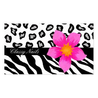 Piel negra, blanca, rosada y gris de la cebra y tarjetas de visita