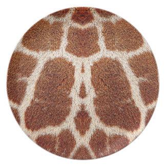 Piel original de la jirafa plato para fiesta