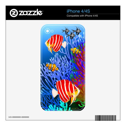 Piel pacífica 4/4S del iPhone de los pescados del  Calcomanía Para El iPhone 4