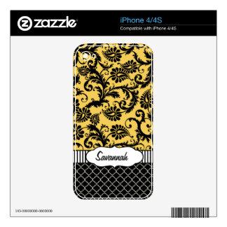 Piel personalizada damasco amarillo del aire de iPhone 4S skin