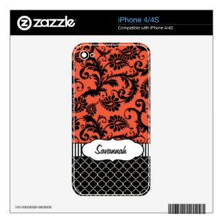 Piel personalizada damasco anaranjado del aire de skins para iPhone 4