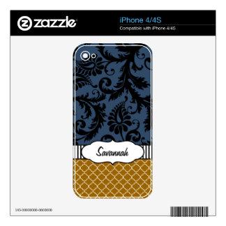 Piel personalizada damasco de la marina de guerra skin para el iPhone 4