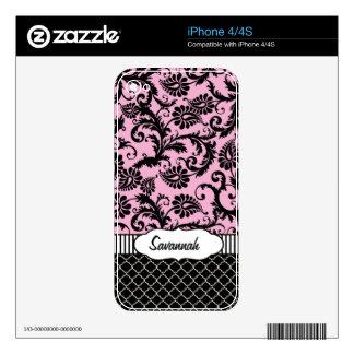 Piel personalizada damasco rosado del aire de iPhone 4 skins