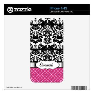 Piel personalizada damasco rosado del aire de skins para eliPhone 4S