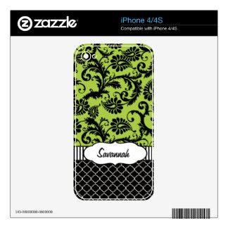 Piel personalizada damasco verde del aire de iPhone 4 skin