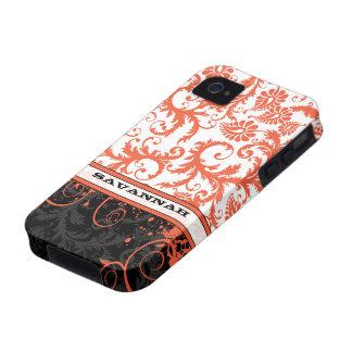 Piel personalizada negro blanco coralino del iPhone 4/4S fundas