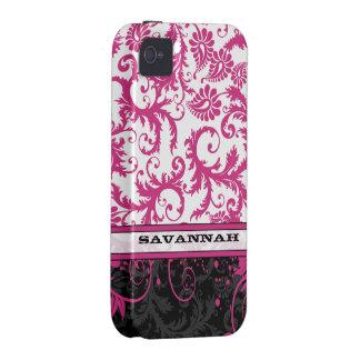 Piel personalizada negro blanco rosado del iPhone iPhone 4 Funda