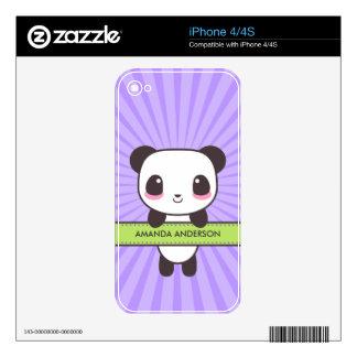 Piel personalizada panda linda del iPhone 4 de Kaw iPhone 4S Calcomanías