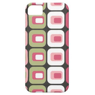 Piel redondeada retra del gris del verde del rosa iPhone 5 fundas