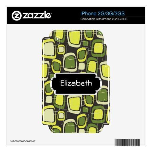 Piel retra verde y amarilla del teléfono del monog iPhone 3 skins