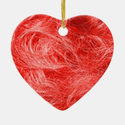 Piel roja adorno navideño de cerámica en forma de corazón
