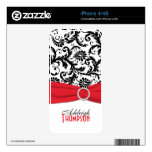Piel roja blanca negra del iPhone 4/4s del damasco Skins Para eliPhone 4S