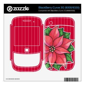 Piel roja de la curva 3G de la alegría del Poinset BlackBerry Skins