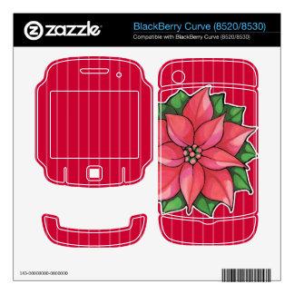 Piel roja de la curva de la alegría del Poinsettia Calcomanía Para BlackBerry