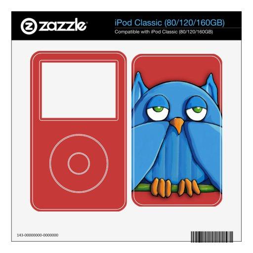 Piel roja de la obra clásica de iPod del búho de l Skins Para eliPod