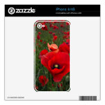 Piel roja del iPhone 4/4S de las amapolas Calcomanías Para El iPhone 4S