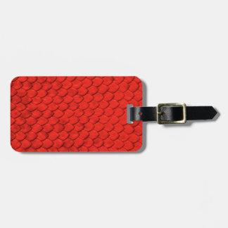 Piel roja del lagarto etiquetas para equipaje