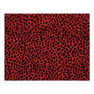 Piel roja del leopardo cojinete