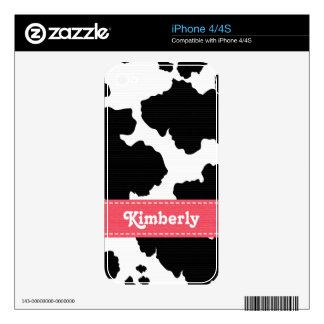 Piel rosada 4/4s del iPhone de la impresión de la  Skins Para iPhone 4