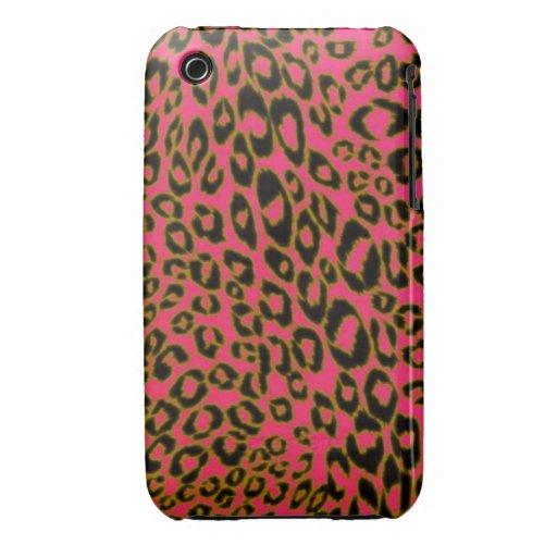 Piel rosada de encargo del leopardo de Africankoko iPhone 3 Case-Mate Fundas